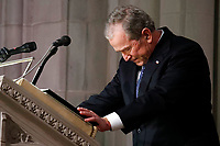 Former President George W. Bush speaks at the State Funeral for his father, former President George H.W. Bush, at the National Cathedral, Wednesday, Dec. 5, 2018, in Washington. (AP Photo/Alex Brandon, Pool)