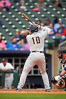 San Antonio Missions outfielder Hunter Renfroe (10) at bat during a game against the NW Arkansas Naturals on May 30, 2015 at Arvest Ballpark in Springdale, Arkansas.  San Antonio defeated NW Arkansas 5-1.  (Mike Janes/Four Seam Images)