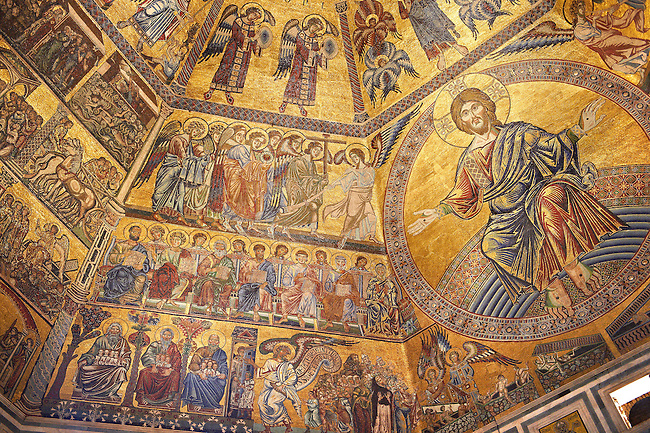 The Medieval mosaics of the ceiling of The Baptistry of Florence Duomo ( Battistero di San Giovanni ) showing Christ and the Apostles,  started in 1225 by Venetian craftsmen in a Byzantine style and completed in the 14th century. Florence Italy