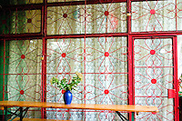 Patio latticework of Polish pub. Lutomierska Street Balucki District Lodz Central Poland