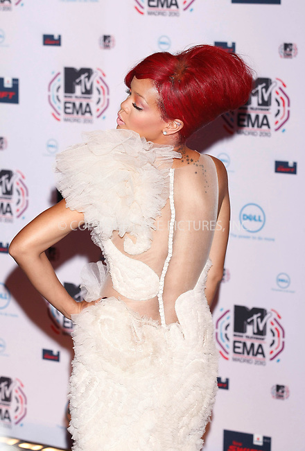 WWW.ACEPIXS.COM . . . . .  ..... . . . . US SALES ONLY . . . . .....November 7 2010, Madrid....Rihanna at the MTV Europe Music Awards on November 7 2010 in Madrid....Please byline: FAMOUS-ACE PICTURES... . . . .  ....Ace Pictures, Inc:  ..Tel: (212) 243-8787..e-mail: info@acepixs.com..web: http://www.acepixs.com