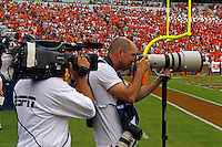 Andrew Shurtleff being filmed by ESPN during a Penn State NCAA college football game against Virginia in Charlottesville, Va. Virginia defeated Penn State 17-16. Photo/Scott Bender