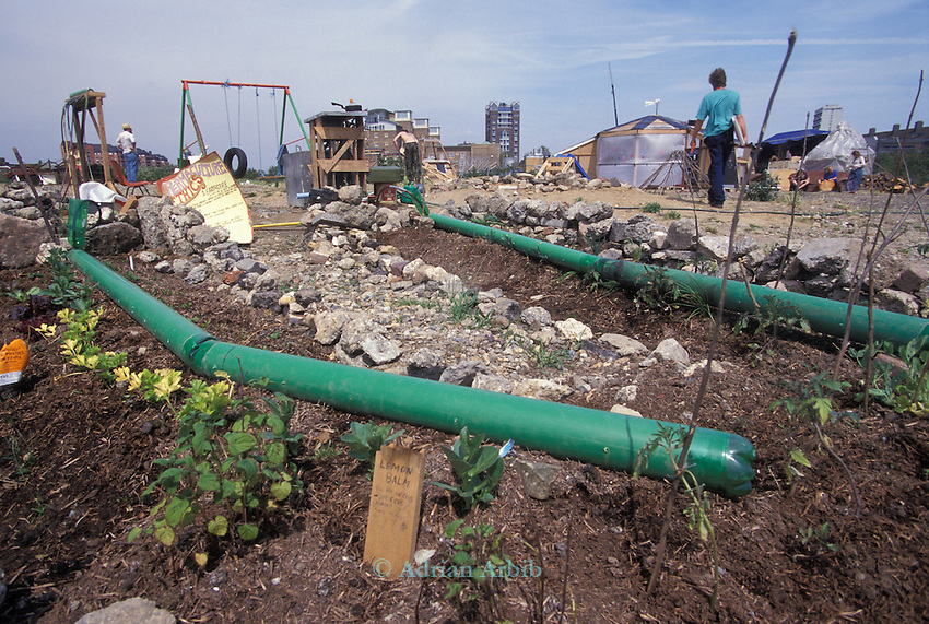 Irrigation scheme designed from waste material to grow  vegetables on the site of the Wandsworth Eco village.