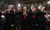 (L-R) Cabinet members James Mattis, Betsy DeVos, Jeff Sessions, Steve Mnuchin and Rex Tillerson applaud as US President Donald J. Trump delivers his first address to a joint session of Congress from the floor of the House of Representatives in Washington, DC, USA, 28 February 2017.  Traditionally the first address to a joint session of Congress by a newly-elected president is not referred to as a State of the Union.<br /> Credit: Jim LoScalzo / Pool via CNP
