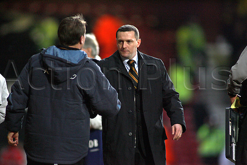 27 January 2007: Watford manager Aidy Boothroyd shakes hands with Alan Curbishley after the FA Cup 4th Round game between West Ham and Watford played at Upton Park. Watford won the game 1-0,  Photo: Actionplus....070127 football soccer coach sportsmanship