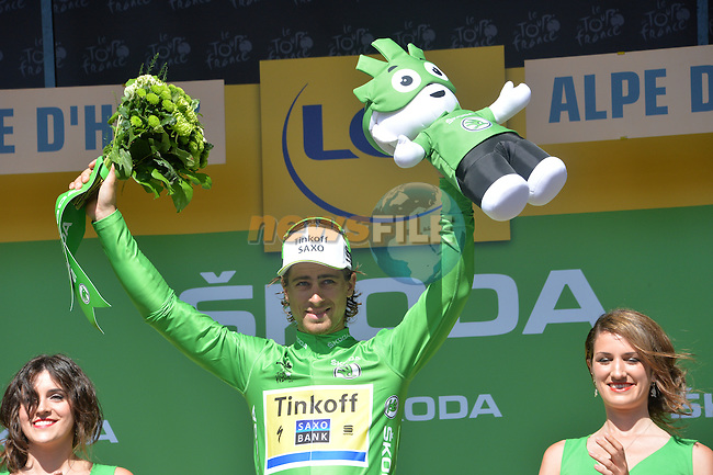 Peter Sagan (SVK) Tinkoff-Saxo retains the points Green Jersey at the end of Stage 20 of the 2015 Tour de France running 110.5km from Modane Valfrejus to Alpe d'Huez, France. 25th July 2015.<br /> Photo: ASO/G.Demouveaux/Newsfile