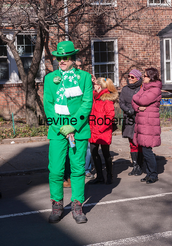 "Participants and spectators at the Sunnyside, Queens St. Patrick's Parade on March 5, 2017. Billed as ""St. Pat's For All"" the festive event started as an alternative to the New York parade, and organizers have endeavored to make the parade inclusive allowing gays and lesbians to march who were banned from the New York parade. (© Richard B. Levine)"