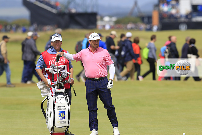 Graeme McDOWELL (NIR) and caddy Ken Comboy at the 17th green during Monday's Final Round of the 144th Open Championship, St Andrews Old Course, St Andrews, Fife, Scotland. 20/07/2015.<br /> Picture Eoin Clarke, www.golffile.ie
