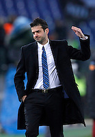 Calcio, semifinale di andata di Coppa Italia: Roma vs Inter. Roma, stadio Olimpico, 23 gennaio 2013..FC Inter coach Andrea Stramaccioni reacts during the Italy Cup football semifinal first half match between AS Roma and FC Inter at Rome's Olympic stadium, 23 January 2013..UPDATE IMAGES PRESS/Isabella Bonotto