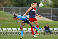 Piscataway, NJ - Saturday July 23, 2016: Tasha Kai, Megan Oyster during a regular season National Women's Soccer League (NWSL) match between Sky Blue FC and the Washington Spirit at Yurcak Field.