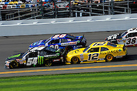 Kyle Busch (#54), Joey Logano (#20), Sam Hornish, Jr. (#12) and Kasey Kahne (#38)