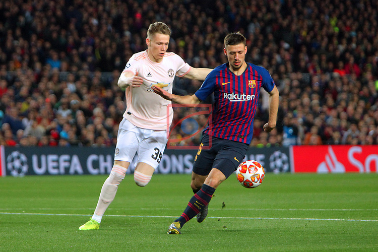 UEFA Champions League 2018/2019.<br /> Quarter-finals 2nd leg.<br /> FC Barcelona vs Manchester United: 3-0.<br /> Scott McTominay vs Clement Lenglet.