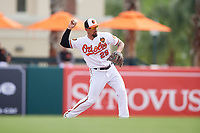 Baltimore Orioles second baseman Jace Peterson (29) throws to first base during a Grapefruit League Spring Training game against the Tampa Bay Rays on March 1, 2019 at Ed Smith Stadium in Sarasota, Florida.  Rays defeated the Orioles 10-5.  (Mike Janes/Four Seam Images)