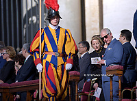 Charles, Prince of Wales attends the Canonization Mass for English John Henry Newman, Italian Giuseppina Vannini, Indian Maria Teresa Chiramel Mankidiyan, Brazilian Dulce Lopes Pontes, and Swiss Margarita Bays on October 13, 2019 In Saint Peter's square at the Vatican.