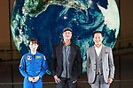 "Actor Brad Pitt attends the press conference for his movie ""Ad Astra"" on September 12, 2019, at Miraikan in Tokyo, Japan. Pitt greeted Mamoru Mohri (R), former astronaut and Chief Executive Director of Miraikan, and astronaut Naoko Yamazaki (L) on stage. The film opens on September 20 in Japan. (Photo by Tomoko Tanaka/AFLO)"