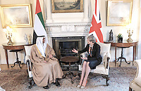 23 February 2017 - His Highness Sheikh Mohamed bin Zayed Al Nahyan, Crown Prince of Abu Dhabi with Prime Minster Theresa May during their bilateral meeting inside Number 10 Downing Street in London. Photo Credit: ALPR/AdMedia