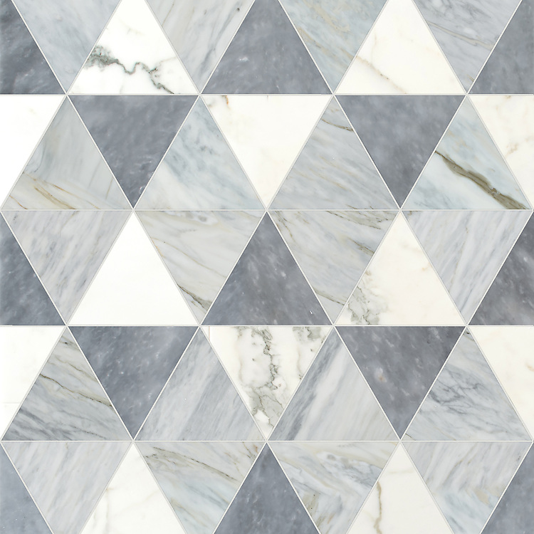 Diamont Grand, a hand-cut stone mosaic, hown in polished Calacatta Tia, Allure, and Cirrus, is part of the Semplice® collection for New Ravenna.