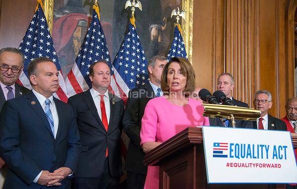 Washington DC, May 2, 2017,USA: Minority Leader,Nancy Pelosi introduces  Members of the House and Senate hold a press conference to re-introduce the Equality Act which guarantees protection for Lesbian, Gay,Bi-sexual and Transgender(LGBT) people throughout the United States.  Photo by Patsy Lynch/MediaPunch