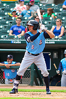 Colorado Springs Sky Sox outfielder Kyle Wren (5) at bat during a Pacific Coast League game against the Iowa Cubs on June 23, 2018 at Principal Park in Des Moines, Iowa. Colorado Springs defeated Iowa 4-2. (Brad Krause/Four Seam Images)
