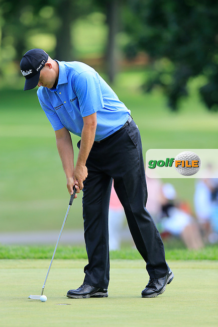 Bill Haas (USA) putts on the 9th green during Sunday's Final Round of the 2013 Bridgestone Invitational WGC tournament held at the Firestone Country Club, Akron, Ohio. 4th August 2013.<br /> Picture: Eoin Clarke www.golffile.ie