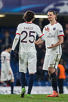 Goal scorer Adrien Rabiot (25) of Paris Saint-Germain & Zlatan Ibrahimovic of Paris Saint-Germain celebrate the win at the final whistle during the UEFA Champions League Round of 16 2nd leg match between Chelsea and PSG at Stamford Bridge, London, England on 9 March 2016. Photo by Andy Rowland.