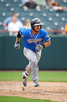 Akron RubberDucks catcher Eric Haase (13) runs to first base during the first game of a doubleheader against the Bowie Baysox on June 5, 2016 at Prince George's Stadium in Bowie, Maryland.  Bowie defeated Akron 6-0.  (Mike Janes/Four Seam Images)