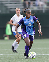 Allston, Massachusetts - July 31, 2016:  In a National Women's Soccer League (NWSL) match, Boston Breakers (white/blue) defeated Orlando Pride (purple), 1-0, at Jordan Field.
