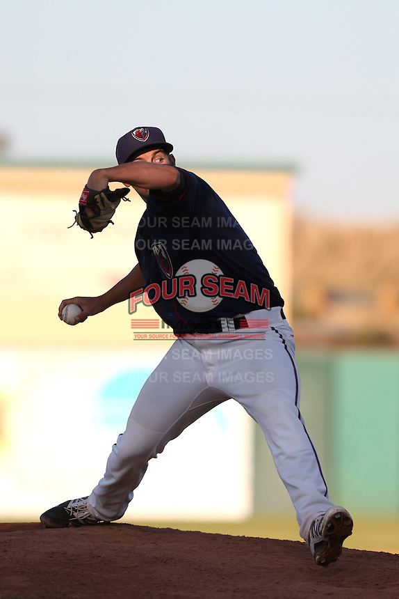 Daniel Minor #19 of the Lancaster JetHawks pitches against the Inland Empire 66ers at The Hanger on May 26, 2014 in Lancaster, California. Lancaster defeated Inland Empire, 6-5. (Larry Goren/Four Seam Images)
