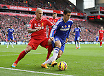 Eden Hazard of Chelsea (r) holds off Martin Skrtel of Liverpool - Barclays Premier League - Liverpool vs Chelsea - Anfield Stadium - Liverpool - England - 8th November 2014  - Picture Simon Bellis/Sportimage