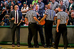 18 February 2018: University of Vermont Meghan and Robert Cioffi Men's Basketball Head Coach John Becker discusses a call with officials during a game against the Hartford Hawks at Patrick Gymnasium in Burlington, Vermont. The Catamounts fell to the Hawks 69-68 in their America East Conference matchup. Mandatory Credit: Ed Wolfstein Photo *** RAW (NEF) Image File Available ***