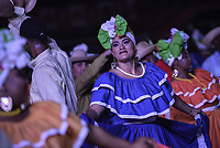 CALI - COLOMBIA. 14-08-2019: El grupo de músca autóctona Mano e´ Currulao hace su presentación durante el primer día del XXIII Festival de Música del Pacífico Petronio Alvarez 2019 el festival cultural afro más importante de Latinoamérica y se lleva acabo entre el 14 y el 19 de agosto de 2019 en la ciudad de Cali. / The group makes its performance of autochthonous music Mano e´ Currulao during the XXII Pacific Music Festival Petronio Alvarez 2019 that is the most important afro descendant cultural festival of Latin America and takes place between August 14 and 19, 2019, in Cali city. Photo: VizzorImage/ Gabriel Aponte / Staff