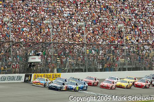 June 14 2009:  The start of the LifeLock 400 at Michigan International Speedway in Brooklyn, MIchigan.