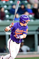 Designated hitter Robert Jolly (12) of the Clemson Tigers bats in the Reedy River Rivalry game against the South Carolina Gamecocks on Saturday, March 3, 2018, at Fluor Field at the West End in Greenville, South Carolina. Clemson won, 5-1. (Tom Priddy/Four Seam Images)