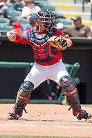 Oklahoma City RedHawks catcher Max Stassi (10)at the Chickasaw Bricktown Ballpark during the Pacific League game against the New Orleans Zephyrs on April 13, 2014 in Oklahoma City, Oklahoma.  The RedHawks defeated the Zephyrs 4-3.  (William Purnell/Four Seam Images)