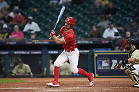 Landon Etzel (7) of the Houston Cougars follows through on his swing against the Vanderbilt Commodores during game nine of the 2018 Shriners Hospitals for Children College Classic at Minute Maid Park on March 3, 2018 in Houston, Texas. The Commodores defeated the Cougars 9-4. (Brian Westerholt/Four Seam Images)