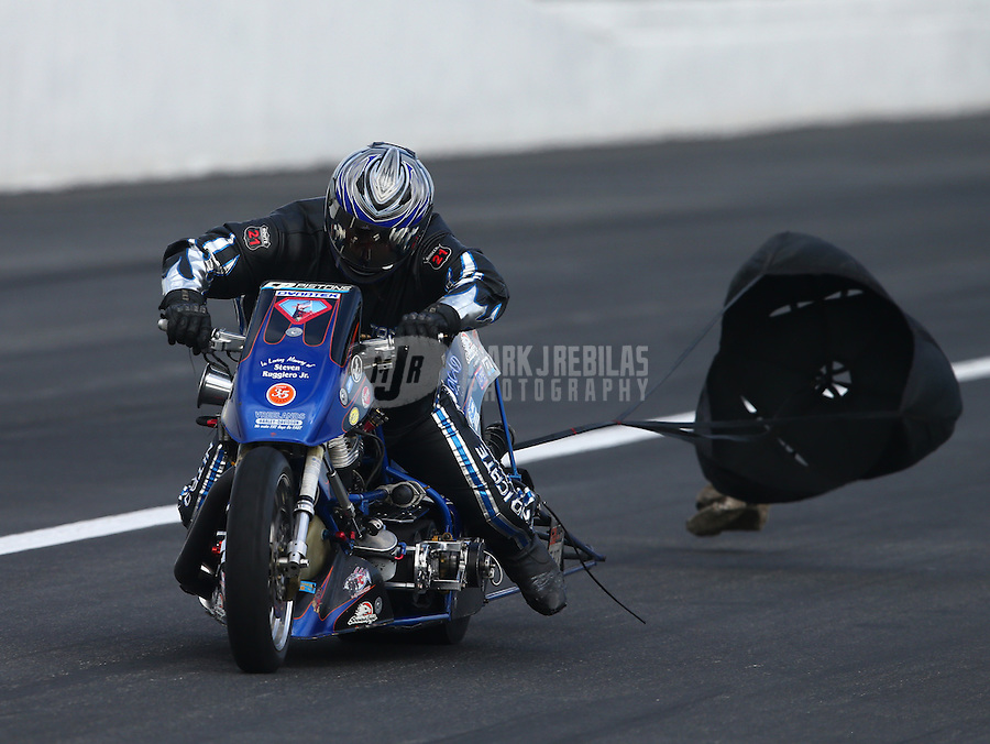 Feb 7, 2015; Pomona, CA, USA; NHRA top fuel Harley motorcycle rider XXXX during qualifying for the Winternationals at Auto Club Raceway at Pomona. Mandatory Credit: Mark J. Rebilas-