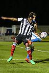Lenell John-Lewis of Grimsby Town battles for the ball during the Vanamara Conference Play Off Semi Final First Leg match between Eastleigh and Grimsby Town at The Silverlake Stadium, Eastleigh<br /> Picture by David Horn/eXtreme aperture photography +44 7545 970036<br /> 30/04/2015