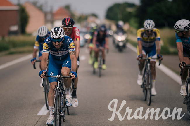 Elia Viviani (ITA/Quick Step Floors) is doing surprisingly well over the gravel roads of the Hageland and will eventually end up finishing 2nd<br /> <br /> 3rd Dwars Door Het hageland 2018 (BEL)<br /> 1 day race:  Aarschot > Diest: 198km