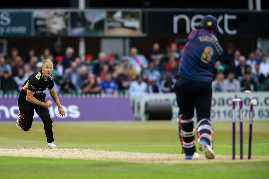 Leicestershire's Dieter Klein bowls Northamptonshire's Rory Kleinveldt <br /> <br /> Photographer Andrew Kearns/CameraSport<br /> <br /> NatWest T20 Blast - Leicestershire Foxes vs Northamptonshire Steelbacks - Friday 21st July 2017 - Grace Road Leicester <br /> <br /> World Copyright &copy; 2017 CameraSport. All rights reserved. 43 Linden Ave. Countesthorpe. Leicester. England. LE8 5PG - Tel: +44 (0) 116 277 4147 - admin@camerasport.com - www.camerasport.com