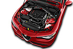 Car stock 2018 Alfa Romeo Guilia Auto 4 Door Sedan engine high angle detail view