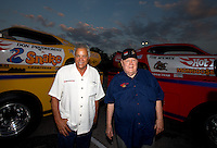 Aug. 29, 2013; Avon, IN, USA: NHRA former driver Tom McEwen (right) and Don Prudhomme during the premiere of Snake & Mongoo$e at the Regal Shiloh Crossing Stadium 18. Mandatory Credit: Mark J. Rebilas-