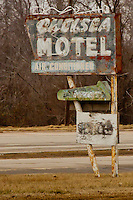Chelsea Motel Sign in Chelsea Oklhaoma on Route 66, the motel has long been closed to travelers.
