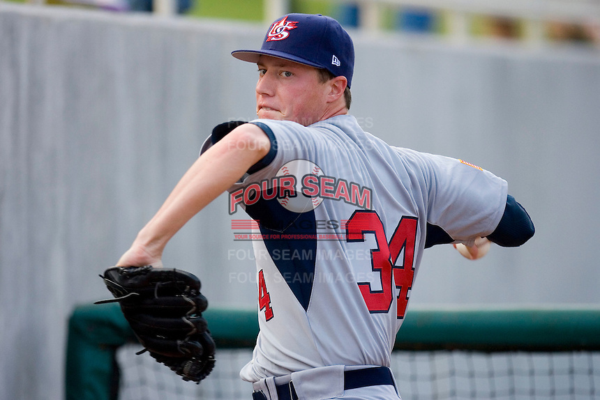 Lucas Harrell #34 of Team USA warms up in the bullpen at the USA Baseball National Training Center, September 4, 2009 in Cary, North Carolina.  (Photo by Brian Westerholt / Four Seam Images)