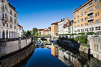 Buildings reflected on Ljubijanica River, Ljubljana, Slovenia