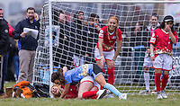 ELLIE YOUNG(IBIZA WEEKENDER) & Nancy May Turner (Ex on the Beach) go to ground during the SOCCER SIX Celebrity Football Event at the Queen Elizabeth Olympic Park, London, England on 26 March 2016. Photo by Andy Rowland.
