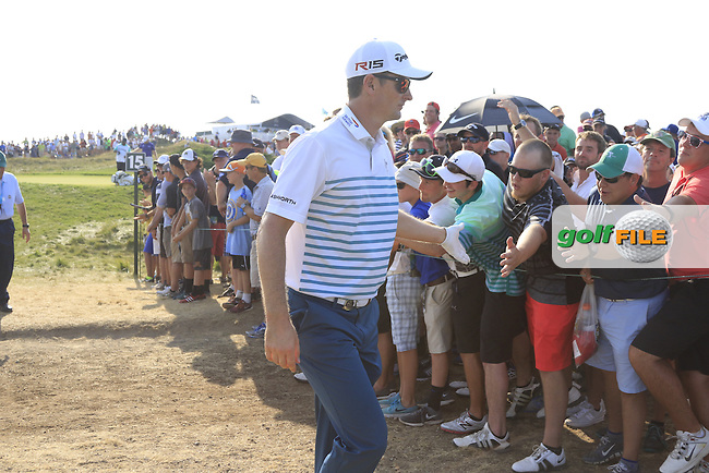 Justin Rose (ENG) walks off the 15th green during Sunday's Final Round of the 97th US PGA Championship 2015 held at Whistling Straits, Mosel, Kohler, Wisconsin, United States of America. 16/08/2015.<br /> Picture Eoin Clarke, www.golffile.ie