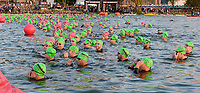 This year, athletes start in waves. The first group of men wait for the start of the swim leg of the 2017 IRONMAN Wisconsin on Sunday, September 10 in Madison