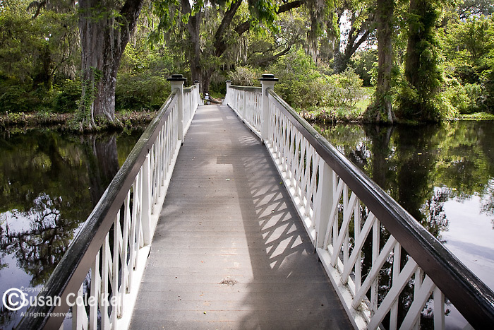 Magnolia Plantation,  Long white bridge over Cypress Lake, Charleston, SC