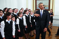 Pictured: US President Barack Obama meets young people. Tuesday 15 November 2016<br /> Re: US President Barack Obama attends official stat banquet at the Presidential Mansion during his visit to Athens Greece