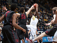 Jordan Mathews of California shoots the ball during the game against Stanford at Haas Pavilion in Berkeley, California on February 5th, 2014.  Stanford defeated California, 80-69.
